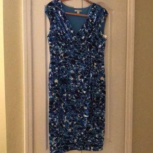 Blue multi print dress
